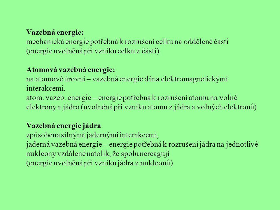 Vazebná energie: mechanická energie potřebná k rozrušení celku na oddělené části (energie uvolněná při vzniku celku z částí) Atomová vazebná energie: na atomové úrovni – vazebná energie dána elektromagnetickými interakcemi.