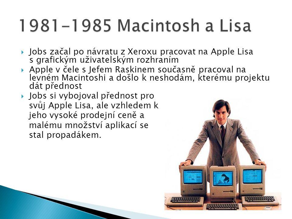  Jobs začal po návratu z Xeroxu pracovat na Apple Lisa s grafickým uživatelským rozhraním  Apple v čele s Jefem Raskinem současně pracoval na levném