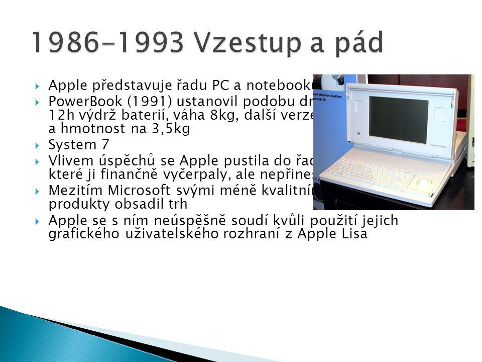 Apple představuje řadu PC a notebooků  PowerBook (1991) ustanovil podobu dnešních notebooků, 12h výdrž baterií, váha 8kg, další verze snížily výdrž