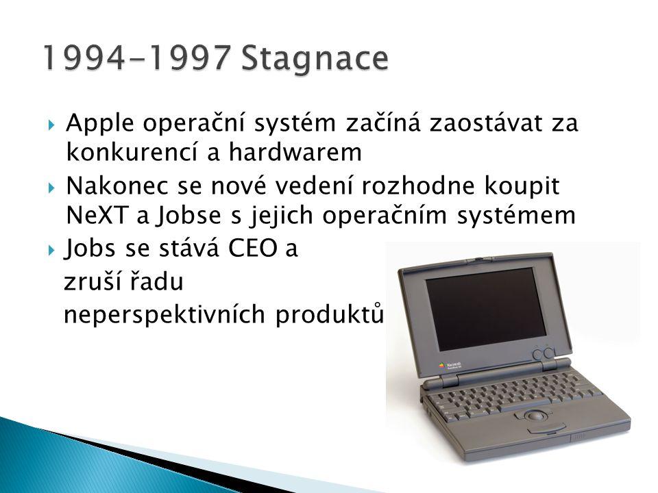  Apple operační systém začíná zaostávat za konkurencí a hardwarem  Nakonec se nové vedení rozhodne koupit NeXT a Jobse s jejich operačním systémem 