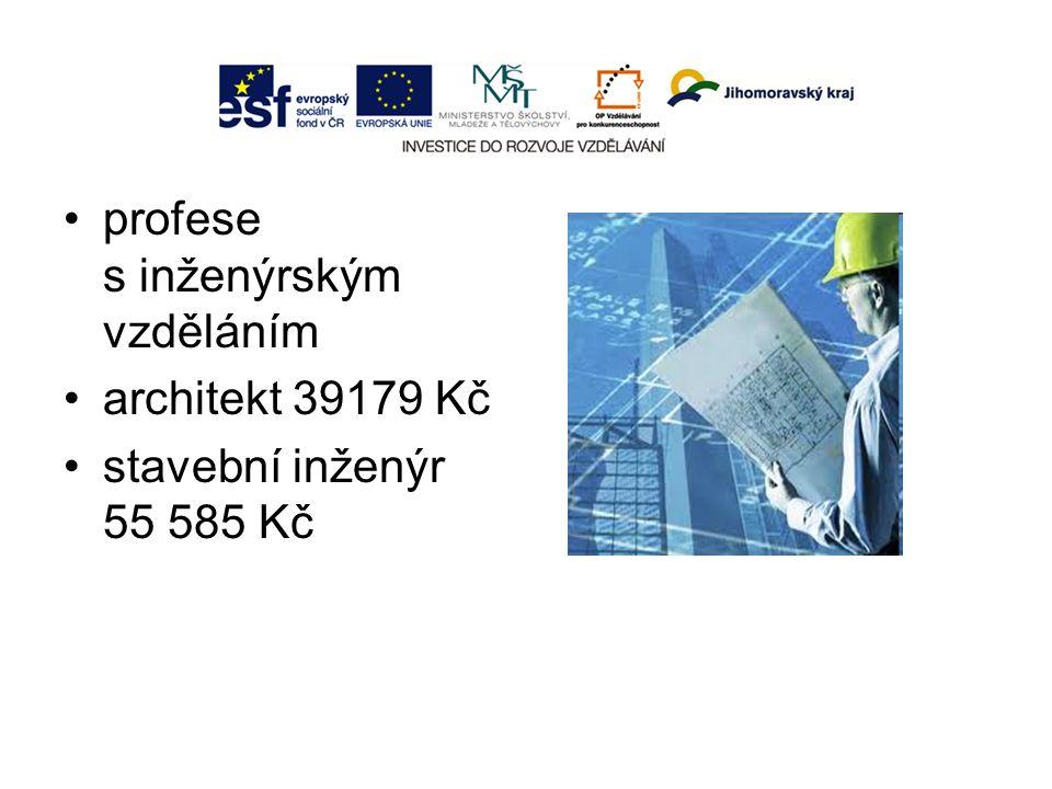 profese s inženýrským vzděláním architekt 39179 Kč stavební inženýr 55 585 Kč