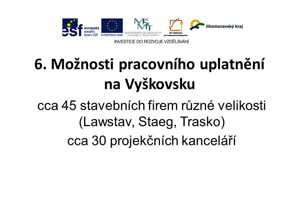 6. Možnosti pracovního uplatnění na Vyškovsku cca 45 stavebních firem různé velikosti (Lawstav, Staeg, Trasko) cca 30 projekčních kanceláří