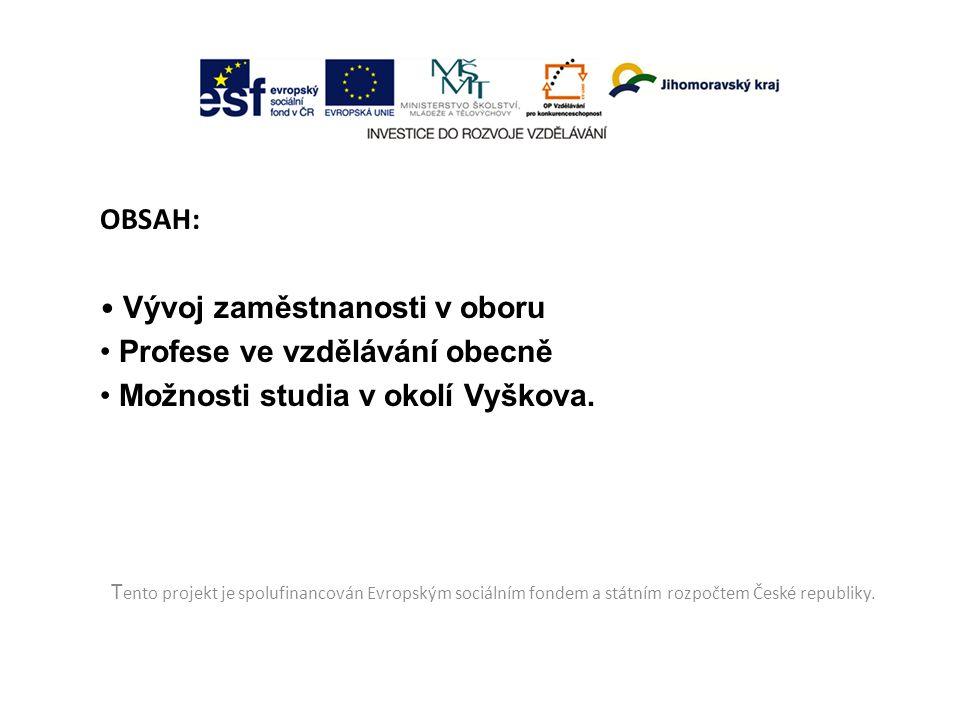 OBSAH: Vývoj zaměstnanosti v oboru Profese ve vzdělávání obecně Možnosti studia v okolí Vyškova. T ento projekt je spolufinancován Evropským sociálním