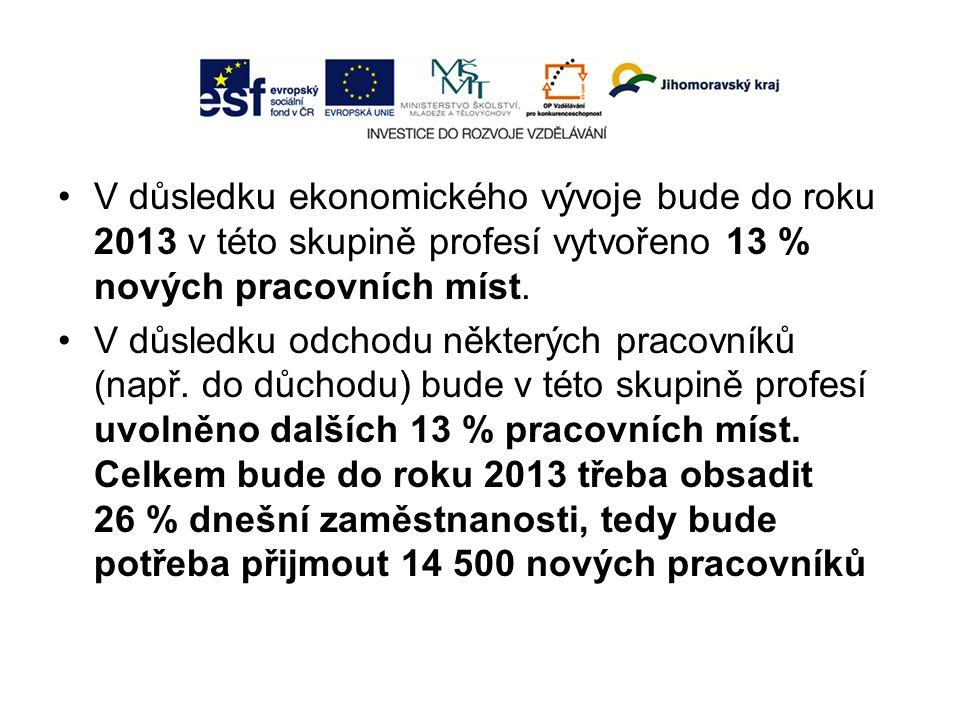 V důsledku ekonomického vývoje bude do roku 2013 v této skupině profesí vytvořeno 13 % nových pracovních míst. V důsledku odchodu některých pracovníků