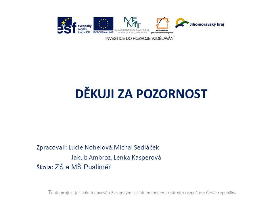 T ento projekt je spolufinancován Evropským sociálním fondem a státním rozpočtem České republiky. DĚKUJI ZA POZORNOST Zpracovali: Lucie Nohelová,Micha