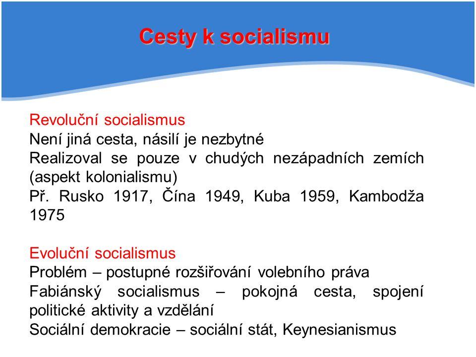Cesty k socialismu Revoluční socialismus Není jiná cesta, násilí je nezbytné Realizoval se pouze v chudých nezápadních zemích (aspekt kolonialismu) Př.