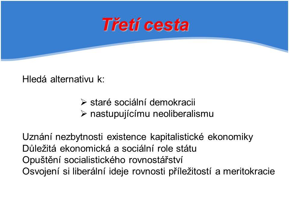 Třetí cesta Hledá alternativu k:  staré sociální demokracii  nastupujícímu neoliberalismu Uznání nezbytnosti existence kapitalistické ekonomiky Důležitá ekonomická a sociální role státu Opuštění socialistického rovnostářství Osvojení si liberální ideje rovnosti příležitostí a meritokracie