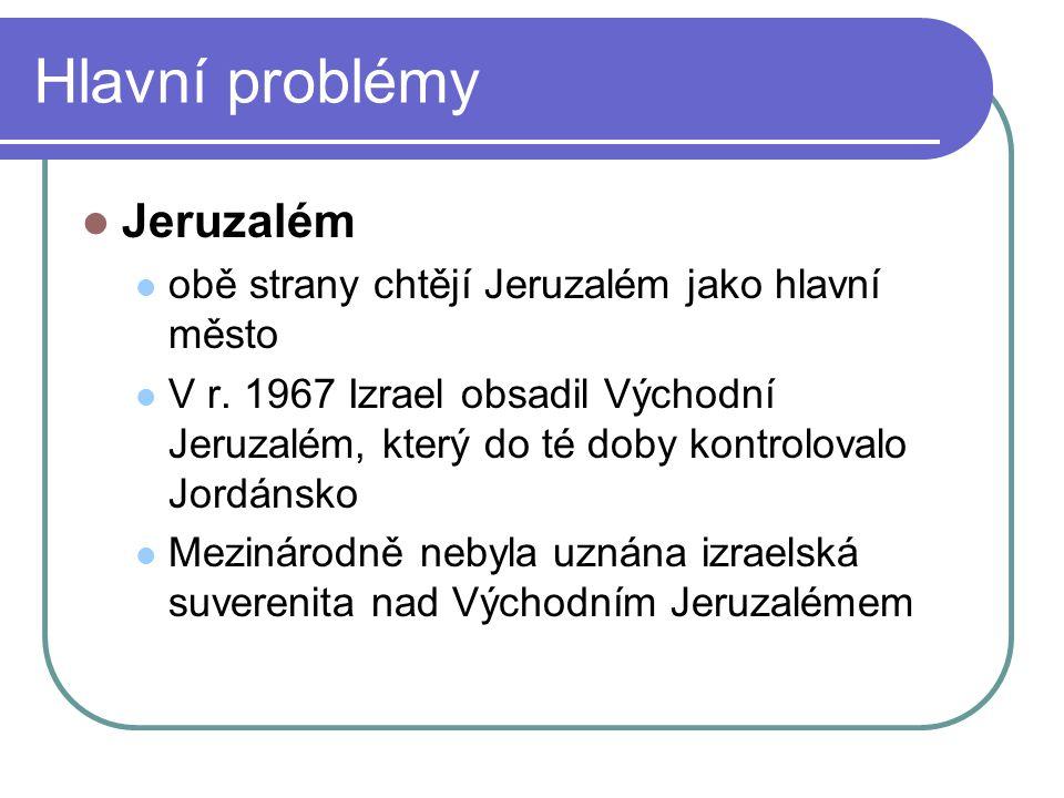 Hlavní problémy Jeruzalém obě strany chtějí Jeruzalém jako hlavní město V r.
