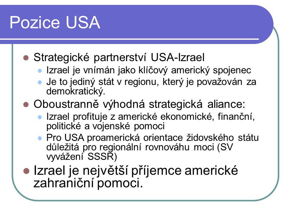 Pozice USA Strategické partnerství USA-Izrael Izrael je vnímán jako klíčový americký spojenec Je to jediný stát v regionu, který je považován za demokratický.
