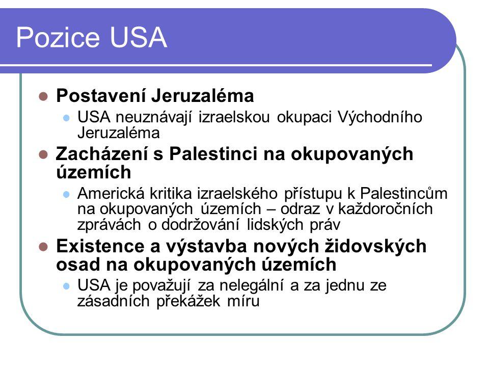 Pozice USA Postavení Jeruzaléma USA neuznávají izraelskou okupaci Východního Jeruzaléma Zacházení s Palestinci na okupovaných územích Americká kritika izraelského přístupu k Palestincům na okupovaných územích – odraz v každoročních zprávách o dodržování lidských práv Existence a výstavba nových židovských osad na okupovaných územích USA je považují za nelegální a za jednu ze zásadních překážek míru