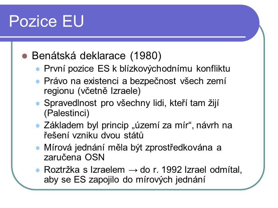 """Pozice EU Benátská deklarace (1980) První pozice ES k blízkovýchodnímu konfliktu Právo na existenci a bezpečnost všech zemí regionu (včetně Izraele) Spravedlnost pro všechny lidi, kteří tam žijí (Palestinci) Základem byl princip """"území za mír , návrh na řešení vzniku dvou států Mírová jednání měla být zprostředkována a zaručena OSN Roztržka s Izraelem → do r."""