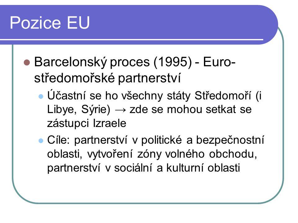 Pozice EU Barcelonský proces (1995) - Euro- středomořské partnerství Účastní se ho všechny státy Středomoří (i Libye, Sýrie) → zde se mohou setkat se zástupci Izraele Cíle: partnerství v politické a bezpečnostní oblasti, vytvoření zóny volného obchodu, partnerství v sociální a kulturní oblasti