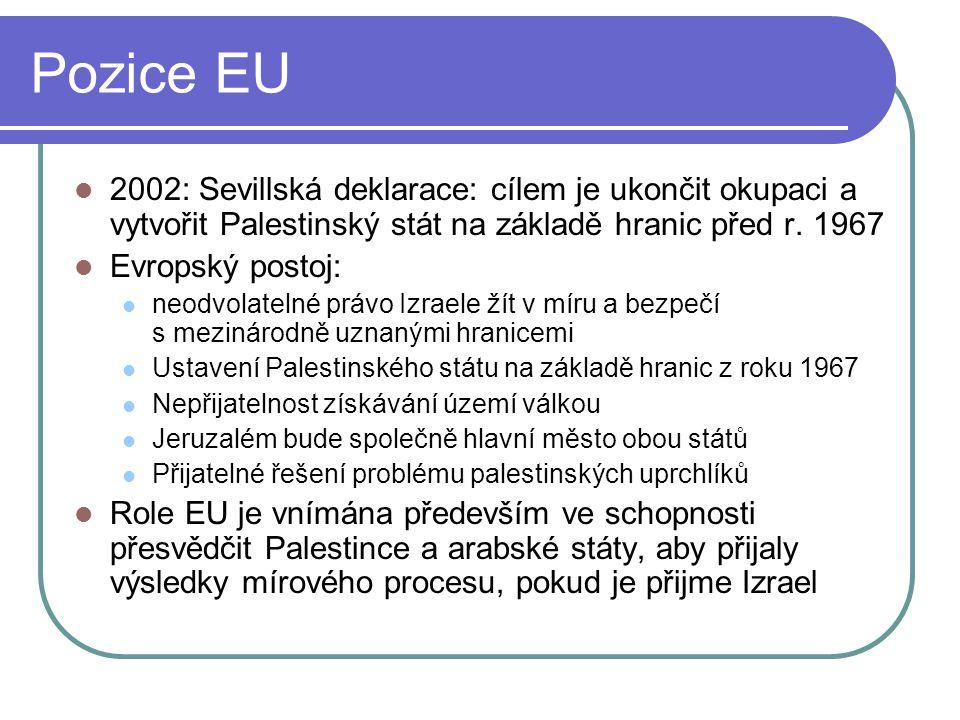 Pozice EU 2002: Sevillská deklarace: cílem je ukončit okupaci a vytvořit Palestinský stát na základě hranic před r.
