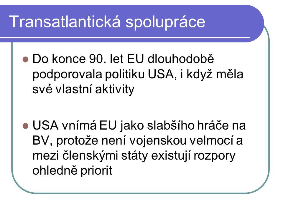 Transatlantická spolupráce Do konce 90.