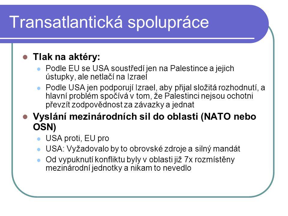 Transatlantická spolupráce Tlak na aktéry: Podle EU se USA soustředí jen na Palestince a jejich ústupky, ale netlačí na Izrael Podle USA jen podporují Izrael, aby přijal složitá rozhodnutí, a hlavní problém spočívá v tom, že Palestinci nejsou ochotni převzít zodpovědnost za závazky a jednat Vyslání mezinárodních sil do oblasti (NATO nebo OSN) USA proti, EU pro USA: Vyžadovalo by to obrovské zdroje a silný mandát Od vypuknutí konfliktu byly v oblasti již 7x rozmístěny mezinárodní jednotky a nikam to nevedlo