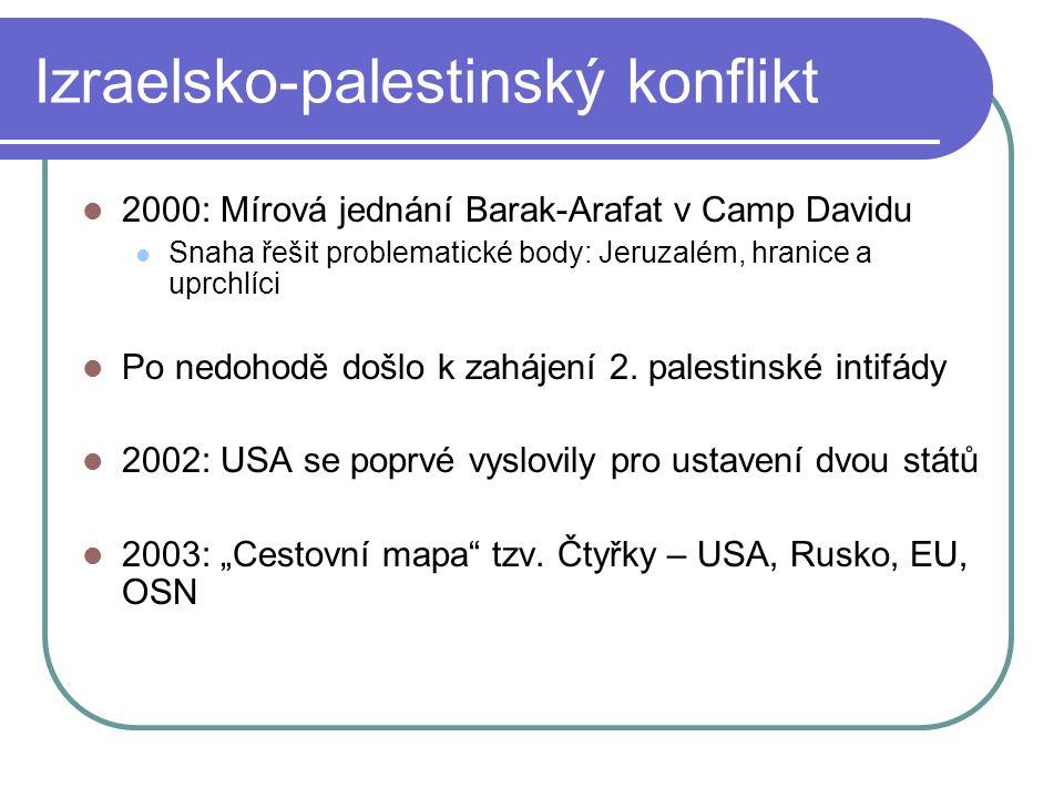 Izraelsko-palestinský konflikt 2000: Mírová jednání Barak-Arafat v Camp Davidu Snaha řešit problematické body: Jeruzalém, hranice a uprchlíci Po nedohodě došlo k zahájení 2.