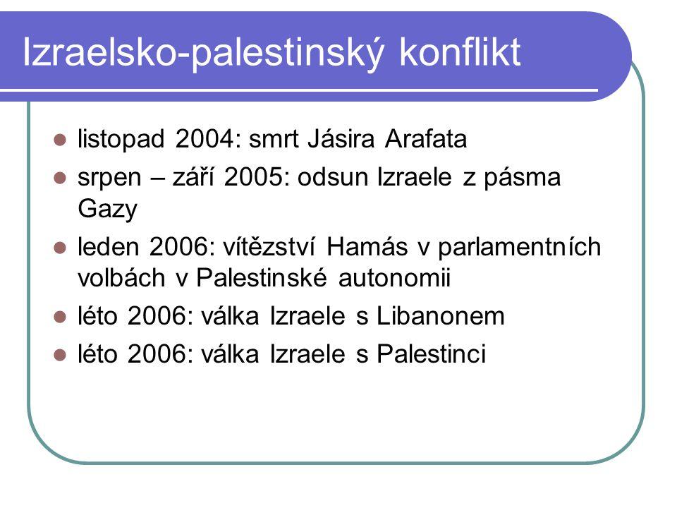 listopad 2004: smrt Jásira Arafata srpen – září 2005: odsun Izraele z pásma Gazy leden 2006: vítězství Hamás v parlamentních volbách v Palestinské autonomii léto 2006: válka Izraele s Libanonem léto 2006: válka Izraele s Palestinci Izraelsko-palestinský konflikt