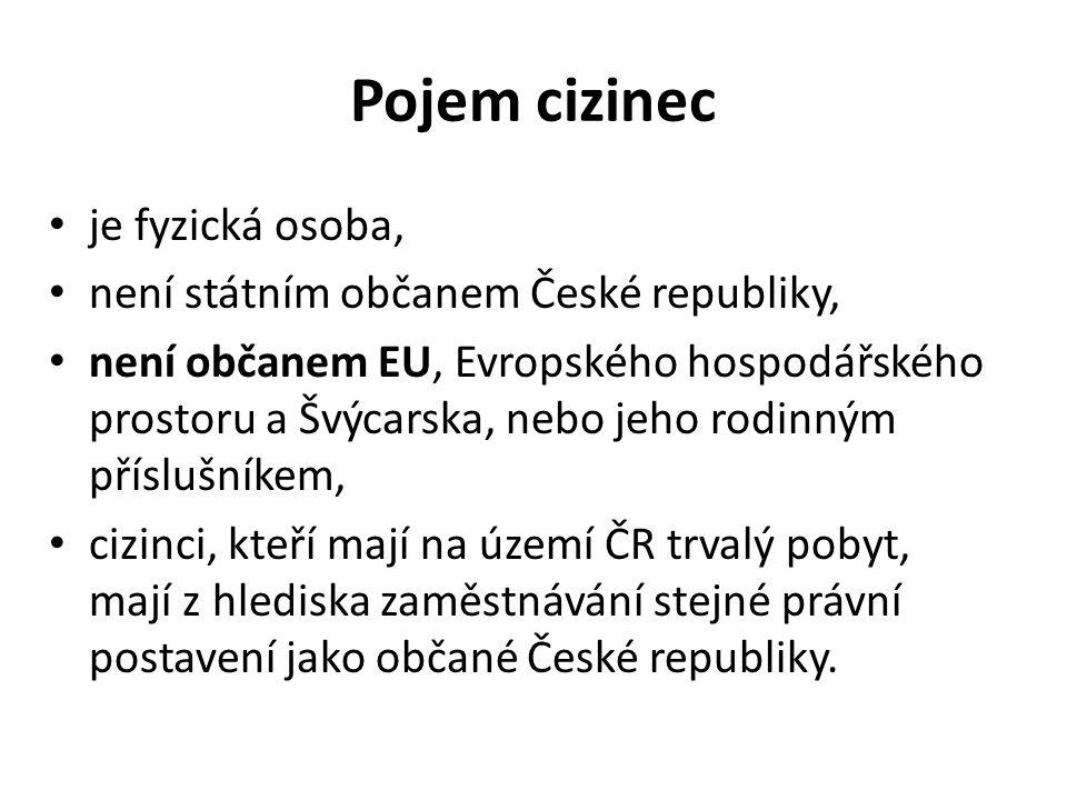 Pojem cizinec je fyzická osoba, není státním občanem České republiky, není občanem EU, Evropského hospodářského prostoru a Švýcarska, nebo jeho rodinným příslušníkem, cizinci, kteří mají na území ČR trvalý pobyt, mají z hlediska zaměstnávání stejné právní postavení jako občané České republiky.