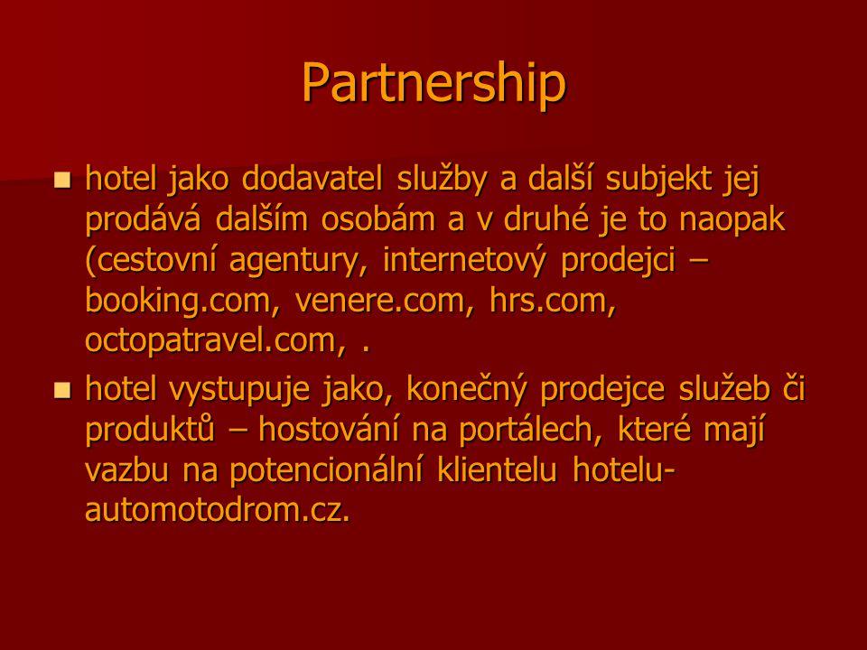 Partnership hotel jako dodavatel služby a další subjekt jej prodává dalším osobám a v druhé je to naopak (cestovní agentury, internetový prodejci – booking.com, venere.com, hrs.com, octopatravel.com,.