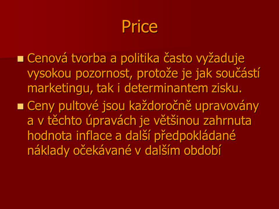 Price Cenová tvorba a politika často vyžaduje vysokou pozornost, protože je jak součástí marketingu, tak i determinantem zisku. Cenová tvorba a politi