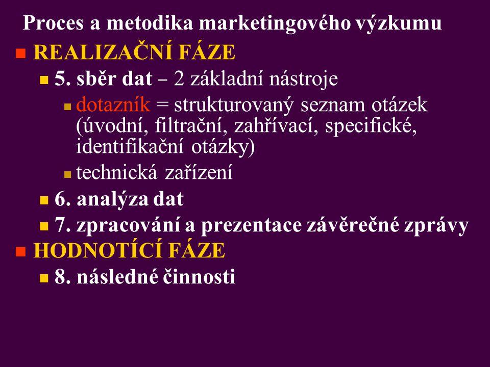 Proces a metodika marketingového výzkumu REALIZAČNÍ FÁZE 5. sběr dat ‒ 2 základní nástroje dotazník = strukturovaný seznam otázek (úvodní, filtrační,