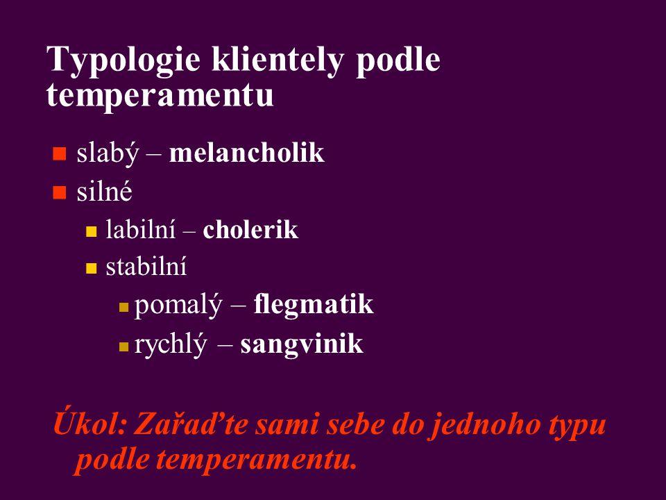 Typologie klientely podle temperamentu slabý – melancholik silné labilní – cholerik stabilní pomalý – flegmatik rychlý – sangvinik Úkol: Zařaďte sami sebe do jednoho typu podle temperamentu.