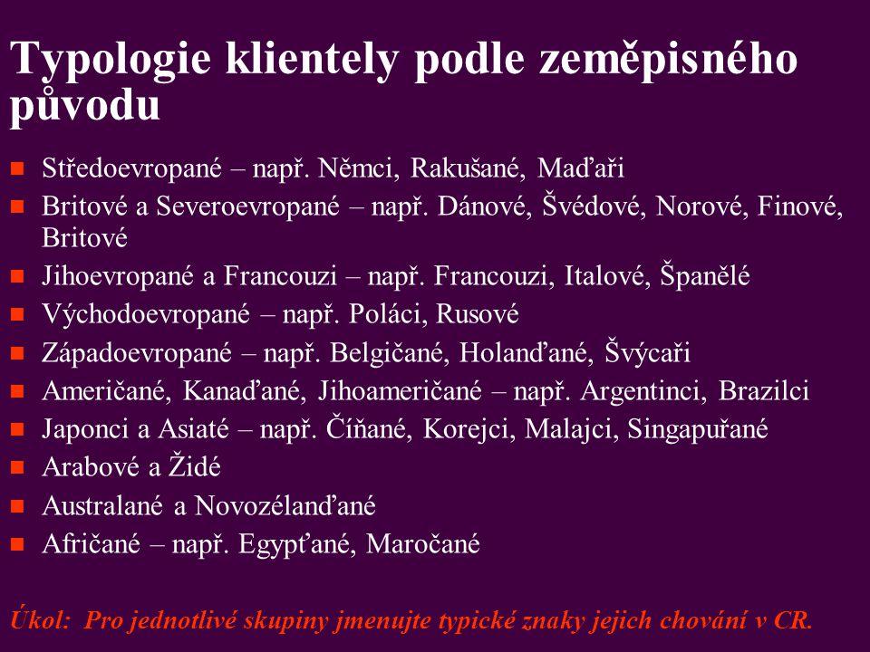 Typologie klientely podle zeměpisného původu Středoevropané – např. Němci, Rakušané, Maďaři Britové a Severoevropané – např. Dánové, Švédové, Norové,