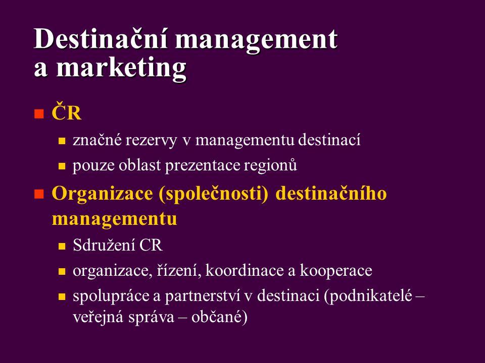 Destinační management a marketing ČR značné rezervy v managementu destinací pouze oblast prezentace regionů Organizace (společnosti) destinačního managementu Sdružení CR organizace, řízení, koordinace a kooperace spolupráce a partnerství v destinaci (podnikatelé – veřejná správa – občané)