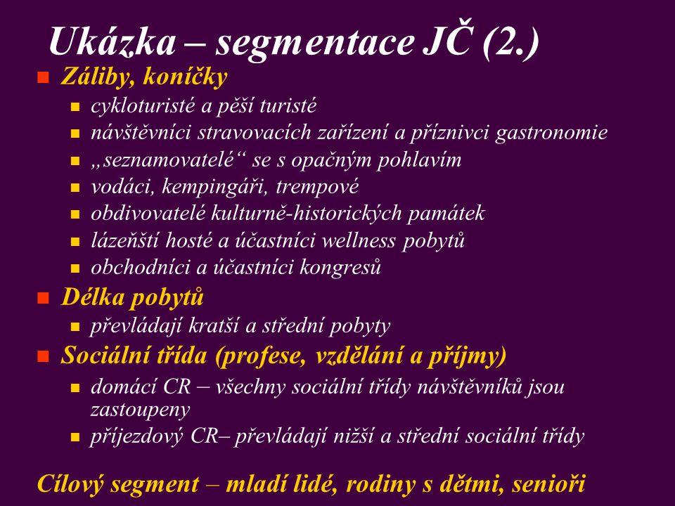 """Ukázka – segmentace JČ (2.) Záliby, koníčky cykloturisté a pěší turisté návštěvníci stravovacích zařízení a příznivci gastronomie """"seznamovatelé"""" se s"""