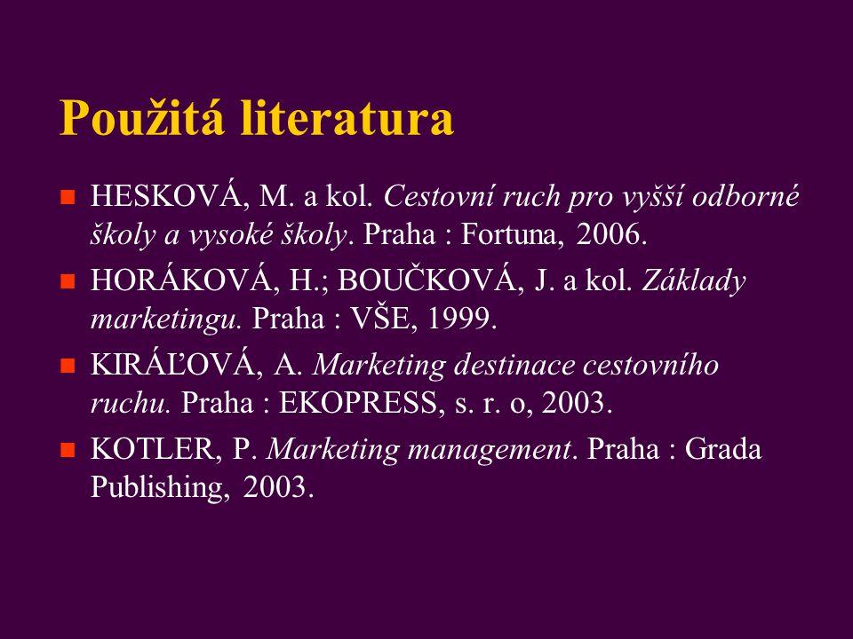 Použitá literatura HESKOVÁ, M. a kol. Cestovní ruch pro vyšší odborné školy a vysoké školy. Praha : Fortuna, 2006. HORÁKOVÁ, H.; BOUČKOVÁ, J. a kol. Z