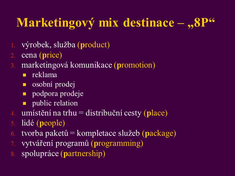 """Marketingový mix destinace – """"8P"""" 1. výrobek, služba (product) 2. cena (price) 3. marketingová komunikace (promotion) reklama osobní prodej podpora pr"""