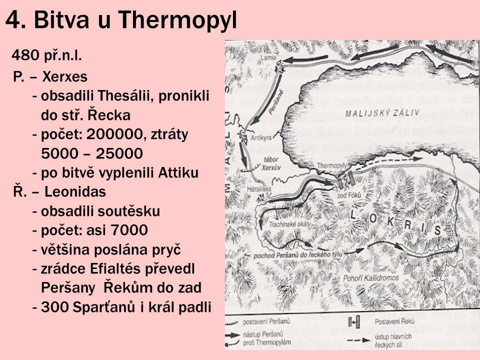 4. Bitva u Thermopyl 480 př.n.l. P. – Xerxes - obsadili Thesálii, pronikli do stř. Řecka - počet: 200000, ztráty 5000 – 25000 - po bitvě vyplenili Att