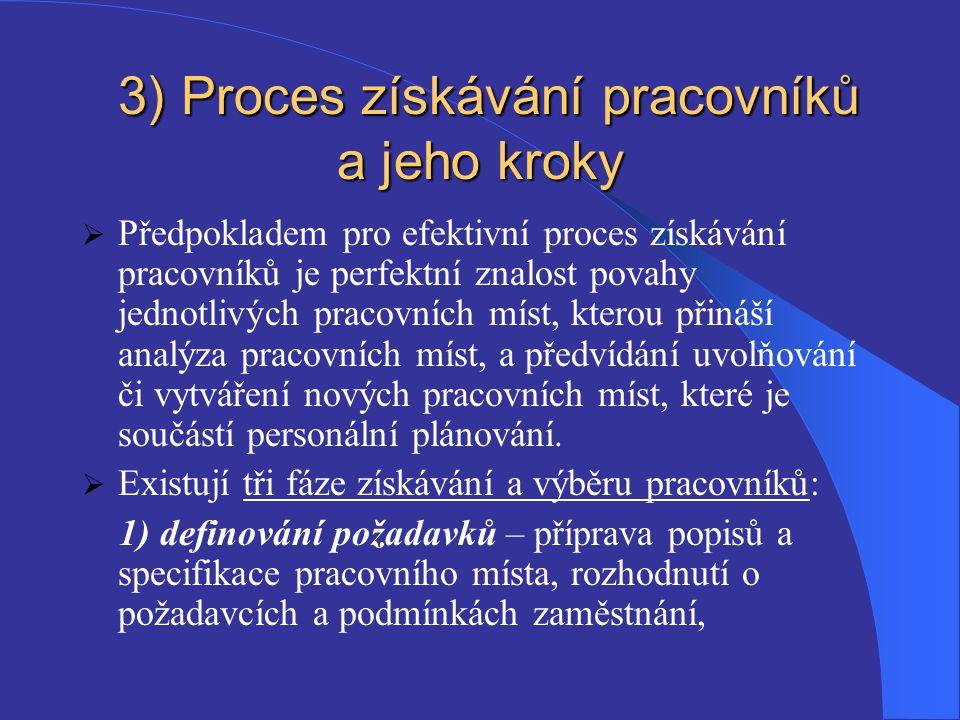 3) Proces získávání pracovníků a jeho kroky 3) Proces získávání pracovníků a jeho kroky  Předpokladem pro efektivní proces získávání pracovníků je pe
