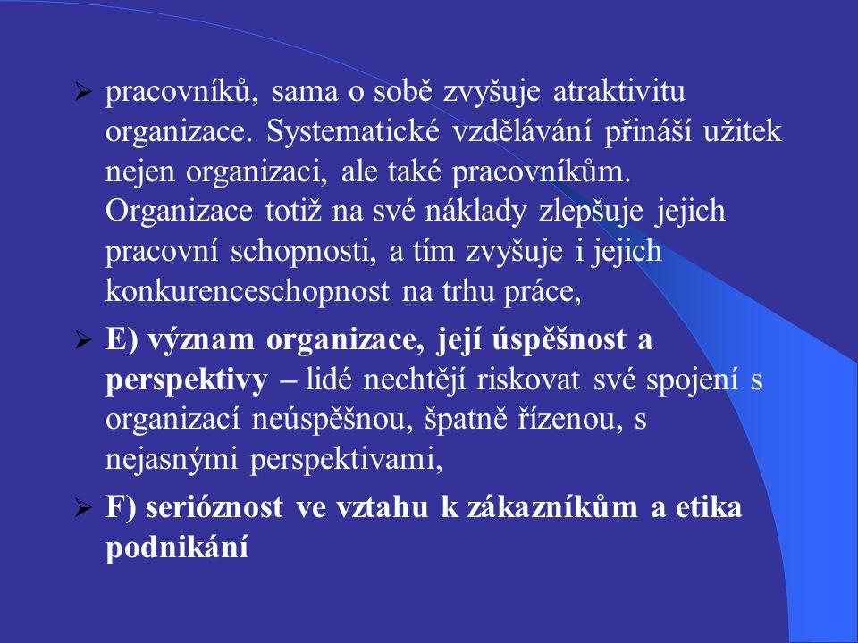  pracovníků, sama o sobě zvyšuje atraktivitu organizace. Systematické vzdělávání přináší užitek nejen organizaci, ale také pracovníkům. Organizace to