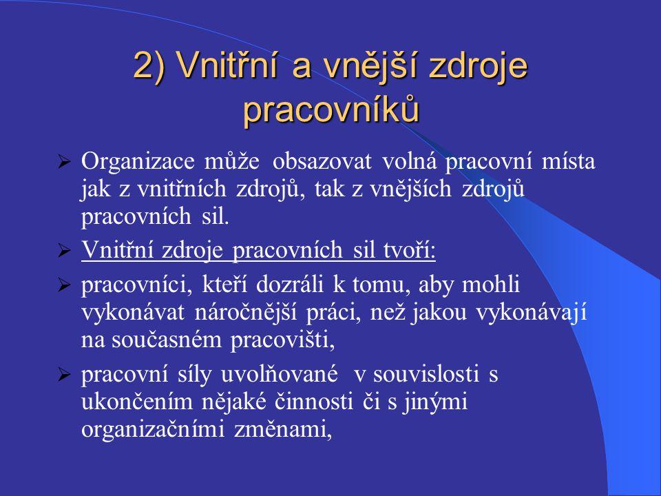 2) Vnitřní a vnější zdroje pracovníků  Organizace může obsazovat volná pracovní místa jak z vnitřních zdrojů, tak z vnějších zdrojů pracovních sil. 