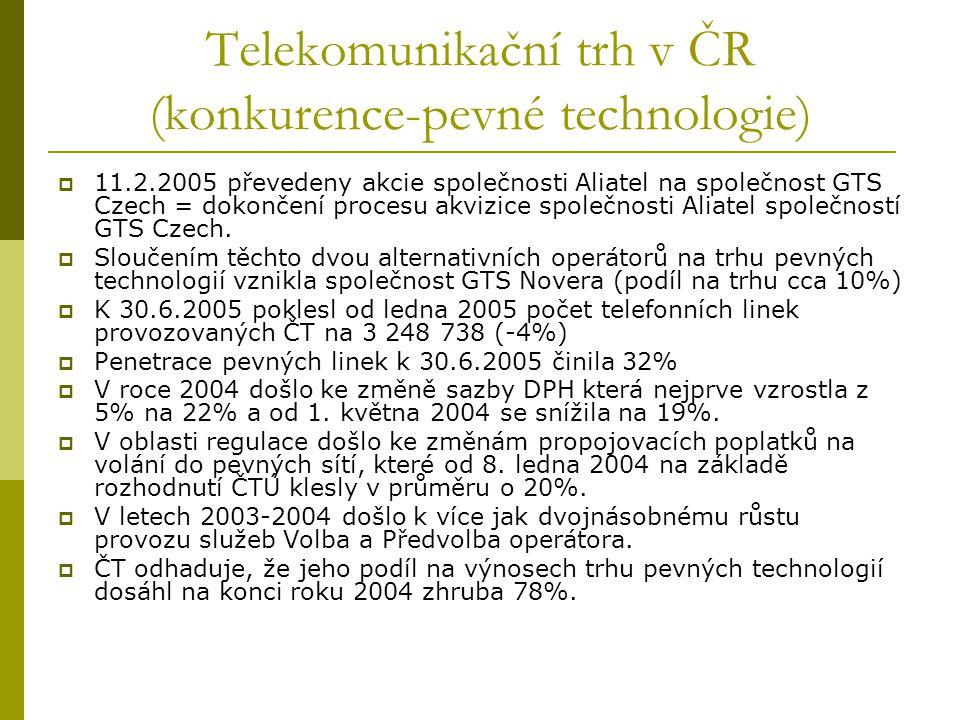 Telekomunikační trh v ČR (konkurence-pevné technologie)  11.2.2005 převedeny akcie společnosti Aliatel na společnost GTS Czech = dokončení procesu ak