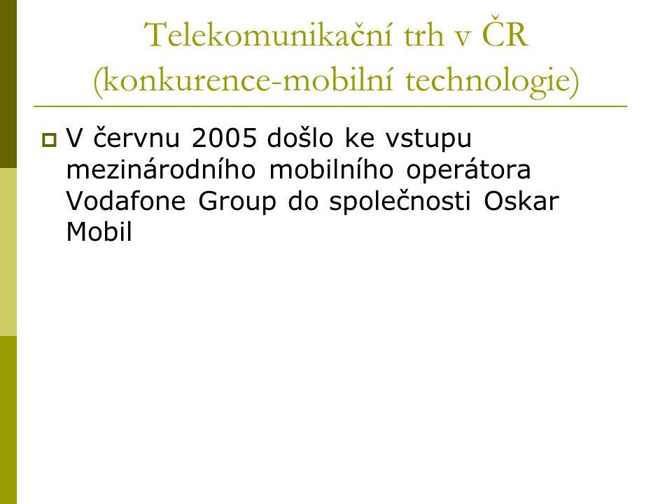 Telekomunikační trh v ČR (konkurence-mobilní technologie)  V červnu 2005 došlo ke vstupu mezinárodního mobilního operátora Vodafone Group do společno