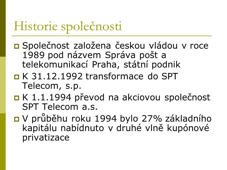 Historie společnosti  Společnost založena českou vládou v roce 1989 pod názvem Správa pošt a telekomunikací Praha, státní podnik  K 31.12.1992 trans