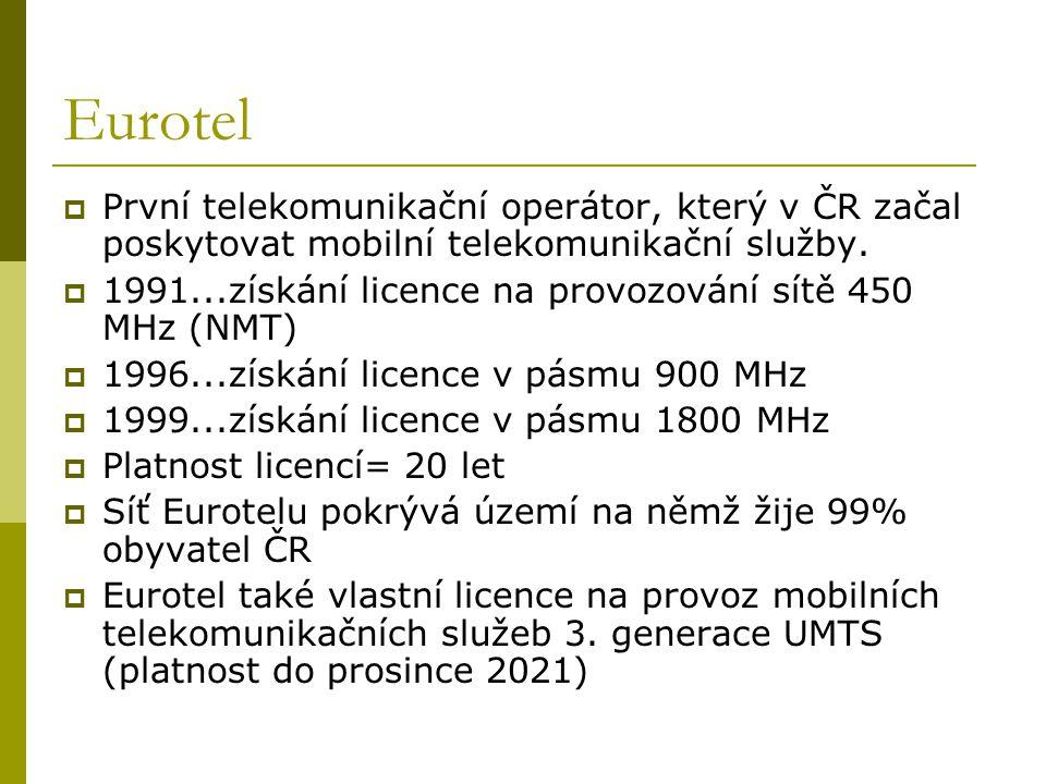 Eurotel  První telekomunikační operátor, který v ČR začal poskytovat mobilní telekomunikační služby.  1991...získání licence na provozování sítě 450