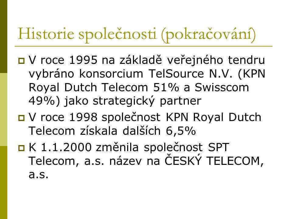 Historie společnosti (pokračování)  V roce 1995 na základě veřejného tendru vybráno konsorcium TelSource N.V. (KPN Royal Dutch Telecom 51% a Swisscom