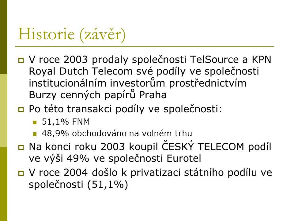 Historie (závěr)  V roce 2003 prodaly společnosti TelSource a KPN Royal Dutch Telecom své podíly ve společnosti institucionálním investorům prostředn