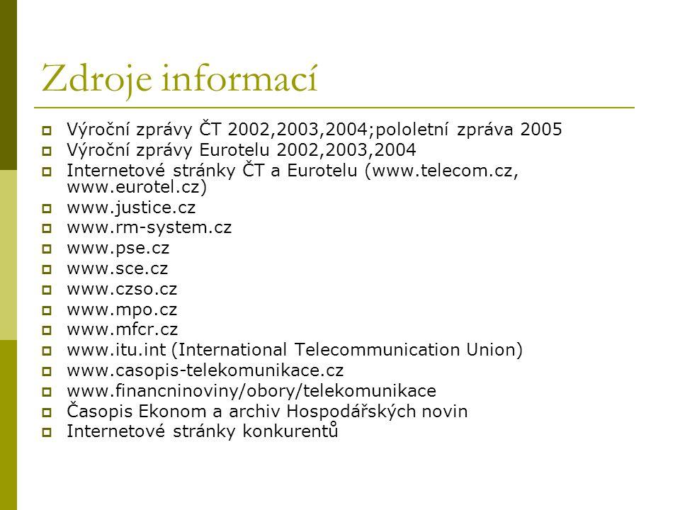 Zdroje informací  Výroční zprávy ČT 2002,2003,2004;pololetní zpráva 2005  Výroční zprávy Eurotelu 2002,2003,2004  Internetové stránky ČT a Eurotelu