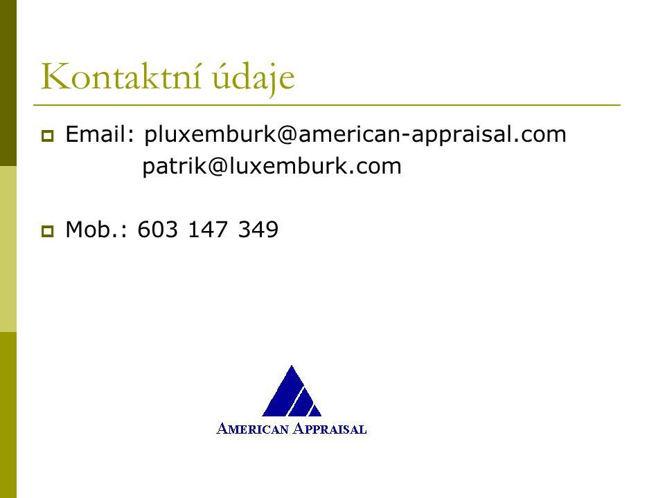 Kontaktní údaje  Email: pluxemburk@american-appraisal.com patrik@luxemburk.com  Mob.: 603 147 349