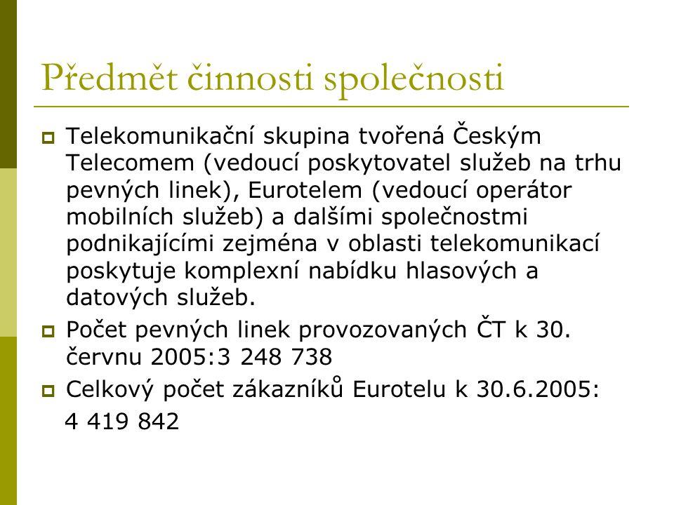 Předmět činnosti společnosti  Telekomunikační skupina tvořená Českým Telecomem (vedoucí poskytovatel služeb na trhu pevných linek), Eurotelem (vedouc