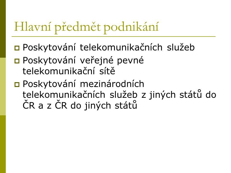 Hlavní předmět podnikání  Poskytování telekomunikačních služeb  Poskytování veřejné pevné telekomunikační sítě  Poskytování mezinárodních telekomun