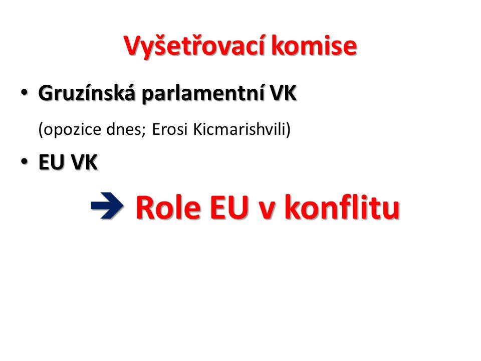 Vyšetřovací komise Gruzínská parlamentní VK Gruzínská parlamentní VK (opozice dnes; Erosi Kicmarishvili) EU VK EU VK  Role EU v konflitu