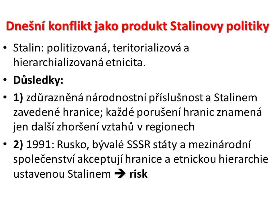 Dnešní konflikt jako produkt Stalinovy politiky Stalin: politizovaná, teritorializová a hierarchializovaná etnicita. Důsledky: 1) zdůrazněná národnost