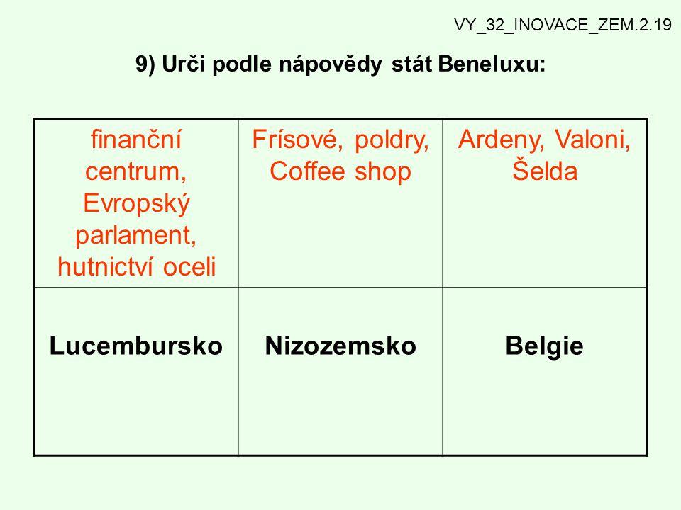 9) Urči podle nápovědy stát Beneluxu: finanční centrum, Evropský parlament, hutnictví oceli Frísové, poldry, Coffee shop Ardeny, Valoni, Šelda Lucembu