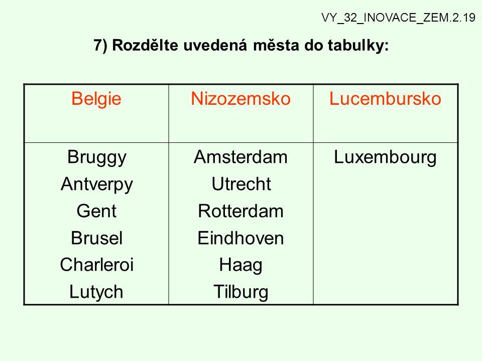 7) Rozdělte uvedená města do tabulky: BelgieNizozemskoLucembursko Bruggy Antverpy Gent Brusel Charleroi Lutych Amsterdam Utrecht Rotterdam Eindhoven H