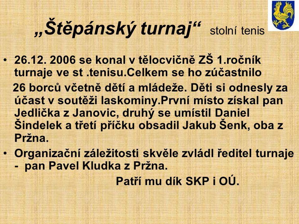 """""""Štěpánský turnaj"""" stolní tenis 26.12. 2006 se konal v tělocvičně ZŠ 1.ročník turnaje ve st.tenisu.Celkem se ho zúčastnilo 26 borců včetně dětí a mlád"""